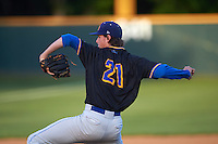 Alamo Heights Mules starting pitcher Forrest Whitley (21) delivers a pitch during a game against the Floresville Tigers on April 22, 2016 at the Park at Alamo Heights in San Antonio, Texas.  Whitley is ranked the 28th top prospect for the MLB Draft according to Baseball America.  (Mike Janes/Four Seam Images)