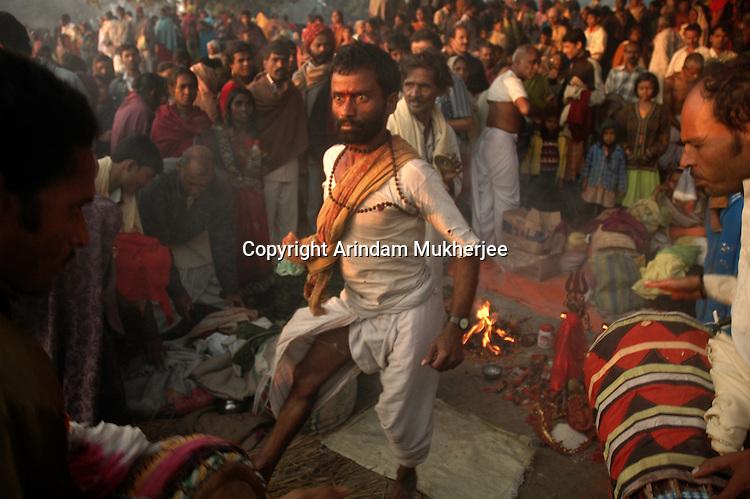 A Hindu priest performing black magic on the occassion of Kartik Purnima at Sonepur fair. Bihar, India, Arindam Mukherjee.