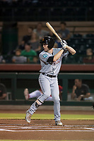 Salt River Rafters left fielder Brian Miller (10), of the Miami Marlins organization, at bat during an Arizona Fall League game against the Scottsdale Scorpions at Scottsdale Stadium on October 12, 2018 in Scottsdale, Arizona. Scottsdale defeated Salt River 6-2. (Zachary Lucy/Four Seam Images)