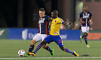 Foxborough, Massachusetts - September 3, 2016: First half action. In a Major League Soccer (MLS) match, New England Revolution (blue/white) vs Colorado Rapids (yellow/blue), at Gillette Stadium.
