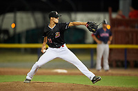 Batavia Muckdogs relief pitcher Eli Villalobos (21) delivers a pitch during a game against the Lowell Spinners on July 16, 2018 at Dwyer Stadium in Batavia, New York.  Lowell defeated Batavia 4-3.  (Mike Janes/Four Seam Images)