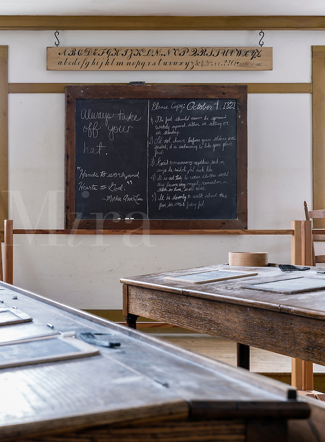 Shaker scholl classroom, Hancock Shaker Village, Massachusetts, USA