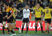 Referee Jonathan Kaplan in action during the Super 15 rugby match between the Hurricanes and Chiefs at Westpac Stadium, Wellington, New Zealand on Friday, 13 July 2012. Photo: Dave Lintott / lintottphoto.co.nz