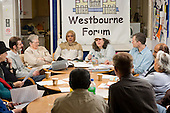 Board meeting of Westbourne Neighbourhood Forum in the community hall on Amberley Estate, North Paddington.