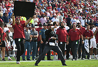 Arkansas offensive coordinator Kendal Briles reacts, Saturday, October 9, 2021 during the fourth quarter of a football game at Vaught Hemingway Stadium in Oxford, Miss. Check out nwaonline.com/211010Daily/ for today's photo gallery. <br /> (NWA Democrat-Gazette/Charlie Kaijo)