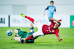 Guangzhou Forward Alan Douglas De Carvalho (R) attempts a kick while being defended by Kawasaki Goalkeeper Jung Sungryong (L) during the AFC Champions League 2017 Group G match between Guangzhou Evergrande FC (CHN) vs Kawasaki Frontale (JPN) at the Tianhe Stadium on 14 March 2017 in Guangzhou, China. Photo by Marcio Rodrigo Machado / Power Sport Images