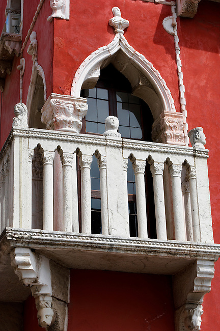 Window & balcony of a Venetican house . Piran , Slovenia