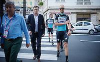 Tom Boonen (BEL/Etixx-QuickStep) returning from the Giro 2015 Official Team Presentation (in San Remo)