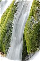Water flows down a green moss covered rock. Jiuzhaigou Valley, China.