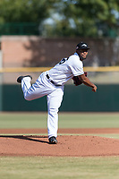 Peoria Javelinas relief pitcher Miguel Diaz (36), of the San Diego Padres organization, follows through on his delivery during the Arizona Fall League Championship game against the Salt River Rafters at Scottsdale Stadium on November 17, 2018 in Scottsdale, Arizona. Peoria defeated Salt River 3-2 in 10 innings. (Zachary Lucy/Four Seam Images)