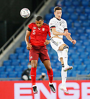 6th August 2020, Basel, Switzerland. UEFA National League football, Switzerland versus Germany;  Manuel Akanji, sui wins the header from Julian Draxler ger