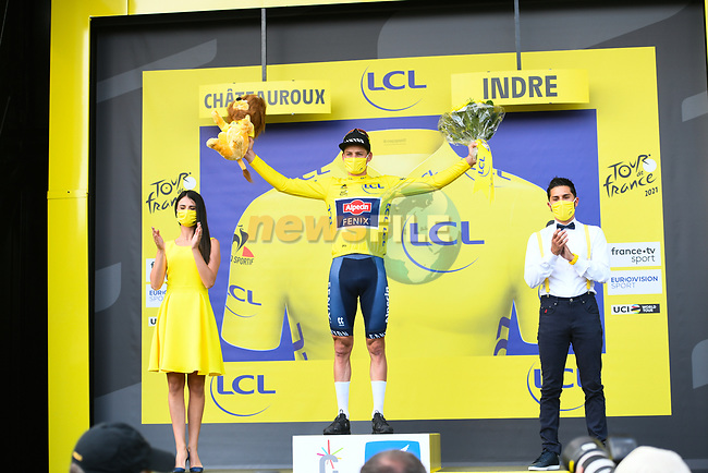 Race leader Mathieu Van Der Poel (NED) Alpecin-Fenix retains the Yellow Jersey at the end of Stage 6 of the 2021 Tour de France, running 160.6km from Tours to Chateauroux, France. 1st July 2021.  <br /> Picture: A.S.O./Charly Lopez | Cyclefile<br /> <br /> All photos usage must carry mandatory copyright credit (© Cyclefile | A.S.O./Charly Lopez)