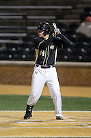 Gavin Sheets (24) of the Wake Forest Demon Deacons at bat against the Delaware Blue Hens at Wake Forest Baseball Park on February 13, 2015 in Winston-Salem, North Carolina.  The Demon Deacons defeated the Blue Hens 3-2.  (Brian Westerholt/Four Seam Images)