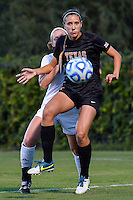 Texas forward Olivia Brook (29) and Texas State defender Brenna Smith (3) during the first half of an NCAA soccer game, Sunday, September 21, 2014 in San Marcos, Tex. Texas defeated Texas State 2-0. (Mo Khursheed/TFV Media via AP Images)