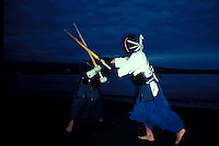 Two men engaged in Kendo routine, a japanese martial art
