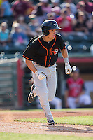 Drew Turbin (9) of the Delmarva Shorebirds hustles down the first base line against the Hickory Crawdads at L.P. Frans Stadium on June 18, 2016 in Hickory, North Carolina.  The Crawdads defeated the Shorebirds 1-0 in game one of a double-header.  (Brian Westerholt/Four Seam Images)