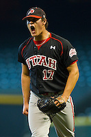 Relief pitcher Ben Mordini #17 of the Utah Utes reacts after getting the final out of an inning against the Baylor Bears at Minute Maid Park on March 5, 2011 in Houston, Texas.  Photo by Brian Westerholt / Four Seam Images
