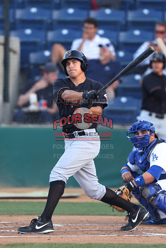 Seth Mejias-Brean #27 of the Bakersfield Blaze bats against the Rancho Cucamonga Quakes at LoanMart Field on June 9, 2014 in Rancho Cucamonga, California. Bakersfield defeated Rancho Cucamonga, 3-1. (Larry Goren/Four Seam Images)