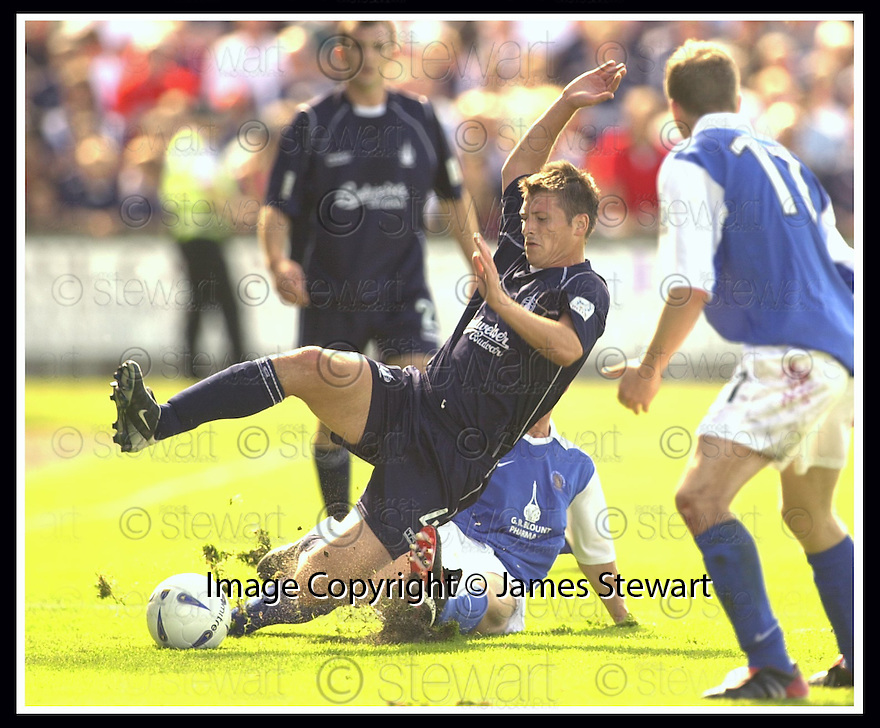 23/08/2003                   Copyright Pic : James Stewart.File Name : stewart-falkirk v qots 10.NEIL SCALLY IS BROUGHT DOWN BY STEVEN BOWIE....James Stewart Photo Agency, 19 Carronlea Drive, Falkirk. FK2 8DN      Vat Reg No. 607 6932 25.Office     : +44 (0)1324 570906     .Mobile  : +44 (0)7721 416997.Fax         :  +44 (0)1324 570906.E-mail  :  jim@jspa.co.uk.If you require further information then contact Jim Stewart on any of the numbers above.........