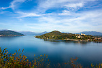 Italy, Lombardia, Arona: view from Rocca di San Carlo across lake Lago Maggiore, (right) town Angera with castle Rocca di Angera | Italien, Piemont, Arona: Blick vom Rocca di San Carlo ueber den Lago Maggiore, rechts die Stadt Angera mit dem Kastell Rocca di Angera