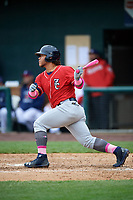 New Hampshire Fisher Cats left fielder Harold Ramirez (23) follows through on a swing during the first game of a doubleheader against the Harrisburg Senators on May 13, 2018 at FNB Field in Harrisburg, Pennsylvania.  New Hampshire defeated Harrisburg 6-1.  (Mike Janes/Four Seam Images)