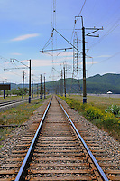 Railroad on damb over Volga river