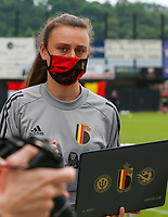 Belgian staff pictured before a friendly female soccer game between the national teams of Luxemburg and Belgium , called the Red Flames  in a preparation towards the qualification for the  FIFA Women's World Cup , on saturday 12 th of June 2021  in Wiltz , Luxemburg . PHOTO SPORTPIX BE   SPP   SEVIL OKTEM