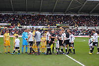 ATTENTION SPORTS PICTURE DESK<br /> Pictured: Garry Monk of Swansea City leads his team during the hand shakes <br /> Re: Coca Cola Championship, Swansea City Football Club v Newcastle United at the Liberty Stadium, Swansea, south Wales. 13 February 2010
