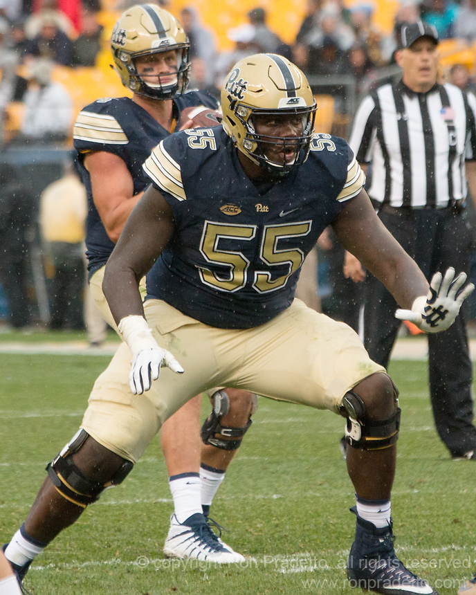 Pitt offensive lineman Jaryd Jones-Smith. The Pitt Panthers defeated the Youngstown State Penguins 28-21 in overtime at Heinz Field, Pittsburgh, Pennsylvania on September 02, 2017.