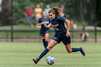 NEWTON, MA - AUGUST 29: Cara Jordan #26 of University of Connecticut brings the ball forward during a game between University of Connecticut and Boston College at Newton Campus Soccer Field on August 29, 2021 in Newton, Massachusetts.
