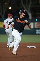 Lars Nootbaar (11) of the Southern California Trojans runs the bases during a game against the Stanford Cardinal at Dedeaux Field on April 6, 2017 in Los Angeles, California. Southern California defeated Stanford, 7-5. (Larry Goren/Four Seam Images)