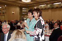 Montreal (QC) CANADA, June 14 2010- Michelle Courchesne (L) and HEATHER MUNROE-BLUM, PRINCIPAL AND VICE-CHANCELLOR OF MCGILL<br />                UNIVERSITY, AT THE CANADIAN CLUB OF MONTREAL'S PODIUM