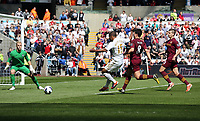 Pictured L-R: Goalkeeper Joe Hart of Manchester City prepares for the shot by Wayne Routledge of Swansea which goes wide, while he is chased by Samir Nasri and Matija Nastasic of Manchetser City. Saturday 04 May 2013<br />