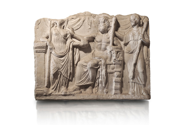 Roman relief sculpture of the Marriage of Zeus and Leto Hieros Gamos. Roman 2nd century AD, Hierapolis Theatre.. Hierapolis Archaeology Museum, Turkey. Against an white background