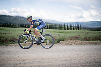 """Taco van der Hoorn (NED/Intermarché - Wanty - Gobert) over the final gravel sector with 9km to go <br /> <br /> 104th Giro d'Italia 2021 (2.UWT)<br /> Stage 11 from Perugia to Montalcino (162km)<br /> """"the Strade Bianche stage""""<br /> <br /> ©kramon"""
