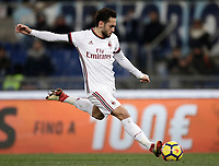 Football Soccer: Tim Cup semi-final second Leg, SS Lazio vs AC Milan, Stadio Olimpico, Rome, Italy, February 28, 2018.<br /> Milan's Hakan Calhanoglu in action during the Tim Cup semi-final football match between SS Lazio vs AC Milan, at Rome's Olympic stadium, February 28, 2018.<br /> <br /> UPDATE IMAGES PRESS/Isabella Bonotto