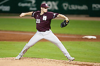 Mississippi State Bulldog starting pitcher Chris Straton #28 delivers against the LSU Tigers during the NCAA baseball game on March 16, 2012 at Alex Box Stadium in Baton Rouge, Louisiana. LSU defeated Mississippi State 3-2 in 10 innings. (Andrew Woolley / Four Seam Images)