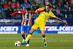 Atletico de Madrid's Angel Correa , UD Las Palmas Javi Castellano during the match of Copa del Rey between Atletico de Madrid and Las Palmas, at Vicente Calderon Stadium,  Madrid, Spain. January 10, 2017. (ALTERPHOTOS/Rodrigo Jimenez)