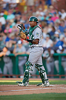Vermont Lake Monsters catcher Robert Mullen (23) during a game against the Tri-City ValleyCats on June 16, 2018 at Joseph L. Bruno Stadium in Troy, New York.  Vermont defeated Tri-City 6-2.  (Mike Janes/Four Seam Images)