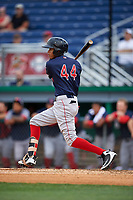 Lowell Spinners Ricardo Cubillan (44) bats during a NY-Penn League game against the Batavia Muckdogs on July 11, 2019 at Dwyer Stadium in Batavia, New York.  Batavia defeated Lowell 5-2.  (Mike Janes/Four Seam Images)