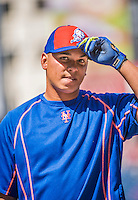 6 April 2015: New York Mets infielder Ruben Tejada awaits his turn in the batting cage prior to the Season Opening Game against the Washington Nationals at Nationals Park in Washington, DC. The Mets rallied to defeat the Nationals 3-1 in their first meeting of the 2015 MLB season. Mandatory Credit: Ed Wolfstein Photo *** RAW (NEF) Image File Available ***