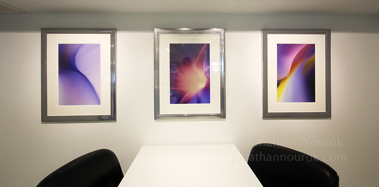 Framed inkjet prints at a corporate office in Florida.