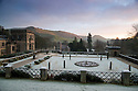 30/11/16<br /> <br /> The sun rises to reveal thick frost surrounding Ilam Hall in the Derbyshire Peak District, near Ashbourne where temperatures plunged to -5 degrees celsius overnight. The National Trust property was built between 1821 and 1826 in the Dove Valley beneath Thorpe Cloud and Dovedale which can be seen in background. <br /> <br /> All Rights Reserved F Stop Press Ltd. (0)1773 550665   www.fstoppress.com