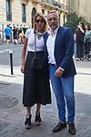 Spanish actor Goyo Gonzalez (r) with his wife Sara Garcia during Spanish actor Arturo Fernandez funeral mass. July 17, 2019. (ALTERPHOTOS/Yurena Paniagua)