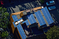aerial photograph of a residential solar panels on a rooftop in Sonoma County, California