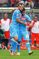 Esultanza dopo il goal Goran Pandev Napoli, Goal Celebration, <br /> Genova 28-09-2013<br /> Stadio Ferraris <br /> Football Calcio 2013/2014 Serie A <br /> Genoa - Napoli<br /> Foto Marco Bertorello Insidefoto