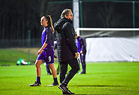 headcoach Patrick Wachel of Anderlecht pictured during a female soccer game between RSC Anderlecht Dames and Sporting Charleroi on the 13 th matchday of the 2020 - 2021 season of Belgian Womens Super League , friday 5 th of February 2021  in Tubize , Belgium . PHOTO SPORTPIX.BE | SPP | DAVID CATRY