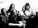 Wings 1973 Denny Seiwell, Henry McCullough, Denny Laine, Linda McCartney, Paul McCartney backstageJuly 6th 1973 Birmingham<br /> © Chris Walter