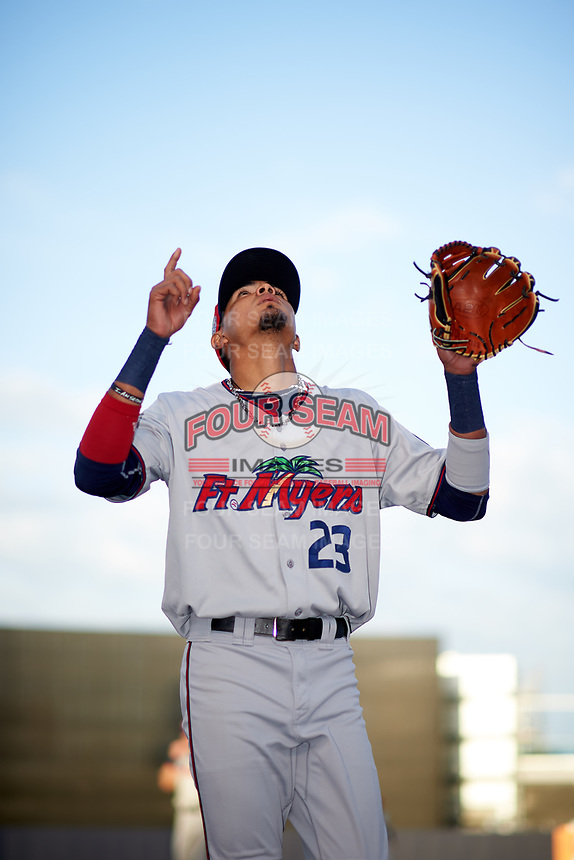 Fort Myers Miracle shortstop Nelson Molina (23) before a game against the Tampa Yankees on April 12, 2017 at George M. Steinbrenner Field in Tampa, Florida.  Tampa defeated Fort Myers 3-2.  (Mike Janes/Four Seam Images)