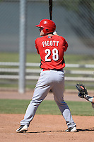 Cincinnati Reds first baseman Daniel Pigott (28) during an Instructional League game against the Arizona Diamondbacks on October 5, 2013 at Salt River Fields at Talking Stick in Scottsdale, Arizona.  (Mike Janes/Four Seam Images)